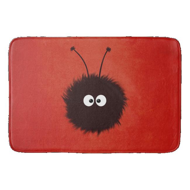 Red Cute Dazzled Bug Bath Mats