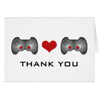 Red Cute Gamer Thank You Card
