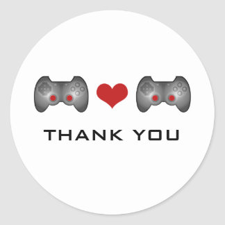 Red Cute Gamer Thank You Stickers