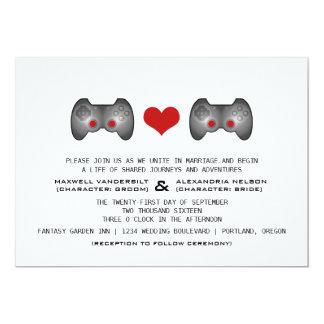 "Red Cute Gamer Wedding Invite 5"" X 7"" Invitation Card"