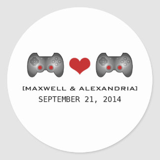 Red Cute Gamer Wedding Stickers