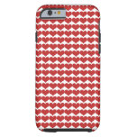 Red Cute Hearts Pattern Tough iPhone 6 Case