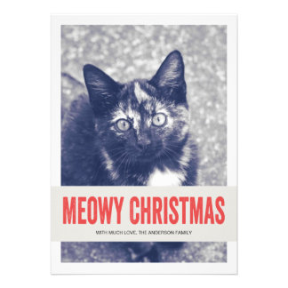 Red Cute Meowy Christmas Pet Photo Flat Cards