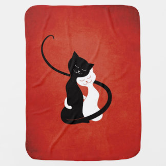 Red Cute White And Black Cats In Love Swaddle Blankets