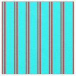 [ Thumbnail: Red & Cyan Pattern of Stripes Fabric ]