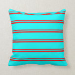 [ Thumbnail: Red & Cyan Pattern of Stripes Throw Pillow ]