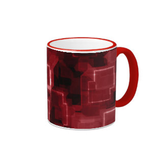 Red Cyber Glow Ringer Coffee Mug