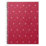 Red Cyclamen And Bright Stars Elegant Pattern Spiral Notebooks