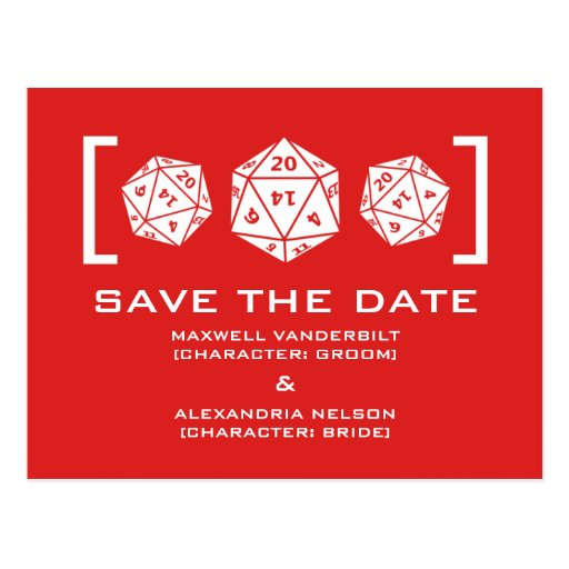 Red D20 Dice Gamer Save the Date Postcard