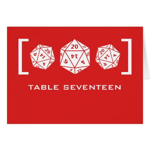 Red D20 Dice Gamer Table Number Card