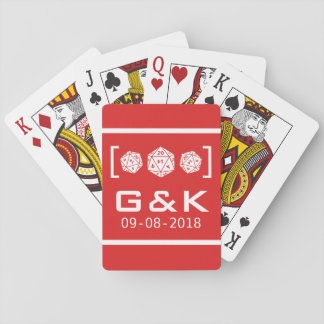 Red D20 Dice Gamer Wedding Playing Cards