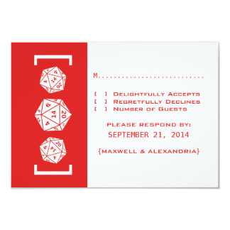 Red D20 Dice Gamer Wedding Response Card Personalized Invitations