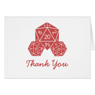 Red D20 Dice Thank You Card Note Card