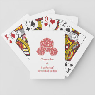 Red D20 Dice Wedding Playing Cards
