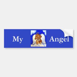 Red Dachshund Angel Bumper Sticker