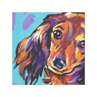 Red Dachshund Bright Pop Art wrapped canvas