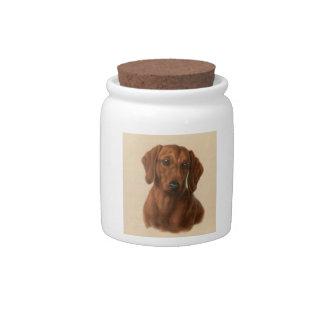 Red Dachshund Dog Treat Candy Jar