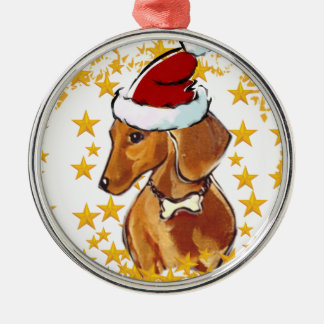 RED DACHSHUND METAL ORNAMENT