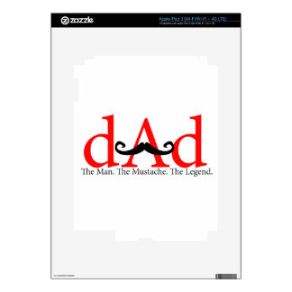 Red Dad Curly Mustache Skin For iPad 3