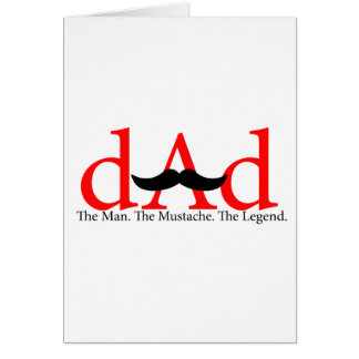 Red Dad Mustache Card