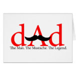 Red Dad Mustache Greeting Card