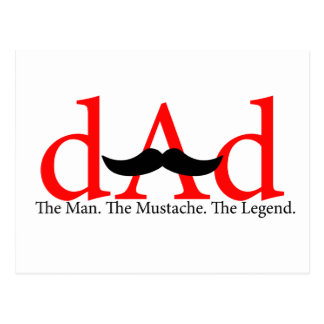 Red Dad Mustache Postcard
