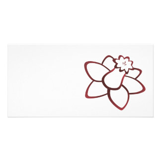 Red Daffodil Customized Photo Card