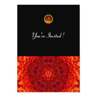 RED DAHLIA, AGATE   bright  black 5x7 Paper Invitation Card