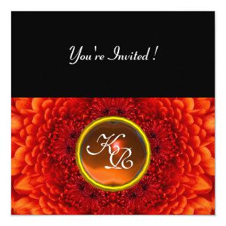 RED DAHLIA, AGATE  monogram ,bright  black yellow 5.25x5.25 Square Paper Invitation Card