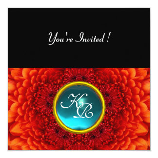 RED DAHLIA, AQUAMARINE ,bright blue black yellow 5.25x5.25 Square Paper Invitation Card
