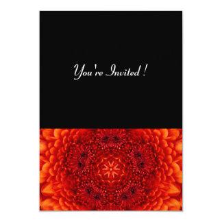 RED DAHLIA,  bright  black 5x7 Paper Invitation Card