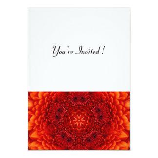 RED DAHLIA,  bright  black white 5x7 Paper Invitation Card