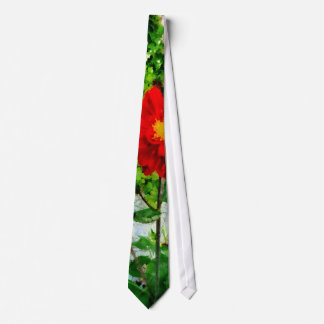 Red Dahlia By Window Neck Tie
