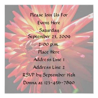 "Red Dahlia Floral Elegant Invitation 5.25"" Square Invitation Card"