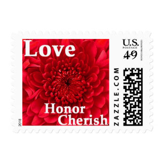 Red Dahlia Floral Postage Stamps - Love Cherish