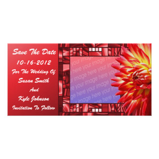 Red Dahlia Floral Wedding Save The Date Photo Card