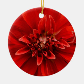 Red dahlia flower ceramic ornament