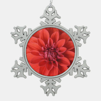 Red dahlia flower christmas ornament