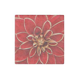 Red dahlia flower illustration stone magnet