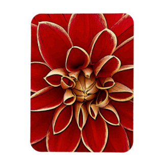 Red dahlia flower illustration rectangular photo magnet