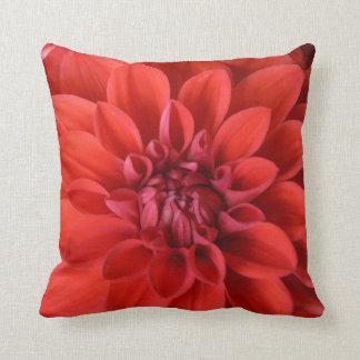 Red dahlia flower print throw pillow