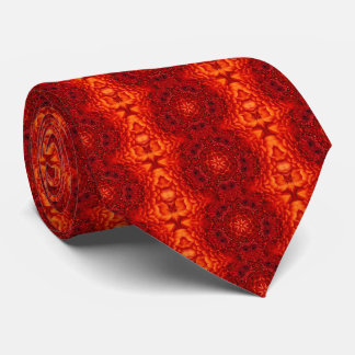 RED DAHLIA FLOWERS Abstract Floral Tie