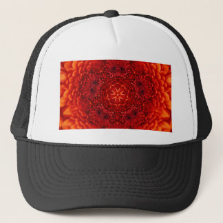 RED DAHLIA FLOWERS Abstract Floral Trucker Hat