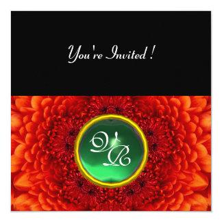 RED DAHLIA, JADE ,bright green black yellow 5.25x5.25 Square Paper Invitation Card