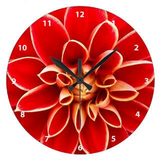 Red Dahlia Large Clock