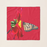 "Red Dahlia Monarch Butterfly Square Chiffon Scarf<br><div class=""desc"">Red Dahlia with Monarch Butterfly on Red Background.  For the three square options of scarfs.  There is a separate long and longer option in my &quot;LongScarves&quot; Zazzle Store.  Design by Claudine Boerner,  2018 All Rights Reserved.  Background color can be changed and you can choose whether to personalize or not.</div>"