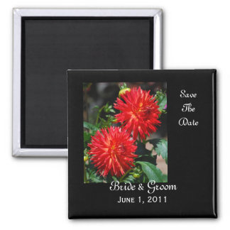 Red Dahlia Pair Save The Date Magnet