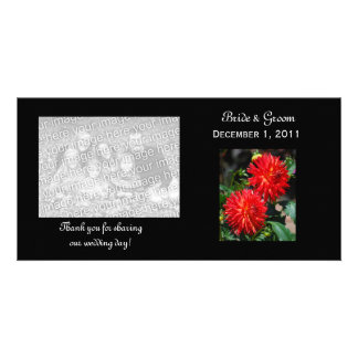 Red Dahlia Pair Thank You Photo Cards