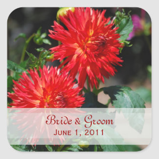 Red Dahlia Pair Wedding Stickers