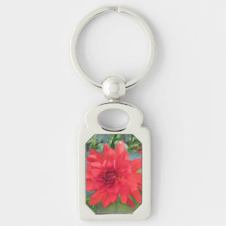 Red Dahlia Plant Silver-Colored Rectangular Metal Keychain